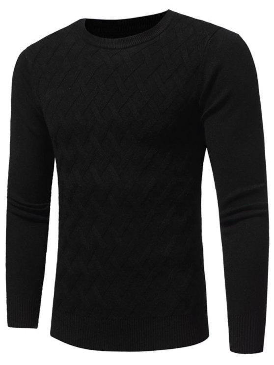 hot Net Pattern Crew Neck Sweater - BLACK 2XL
