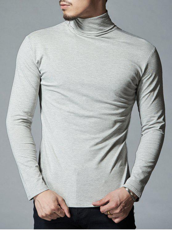 High Neck Stretch Langarm T-Shirt - Hellgrau XL