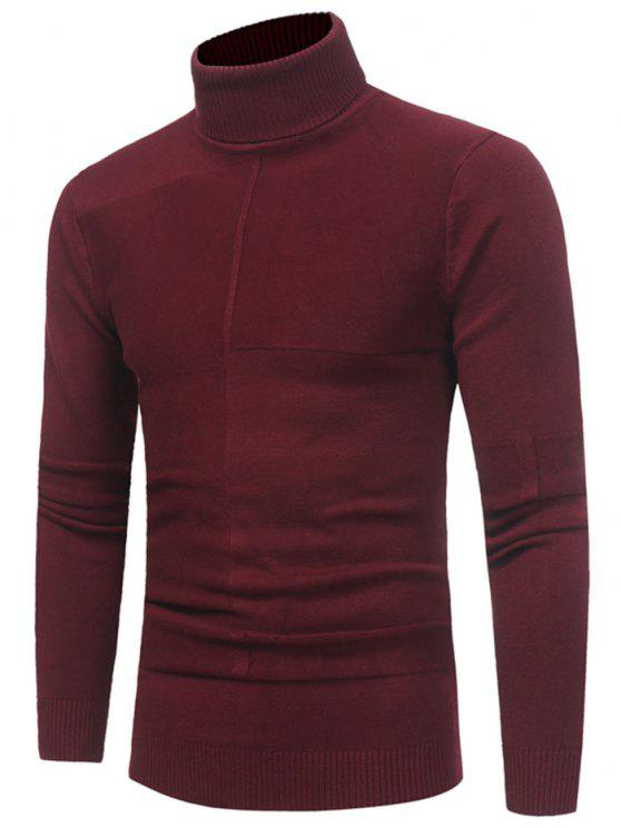 unique Panel Design Turtleneck Sweater - WINE RED 3XL