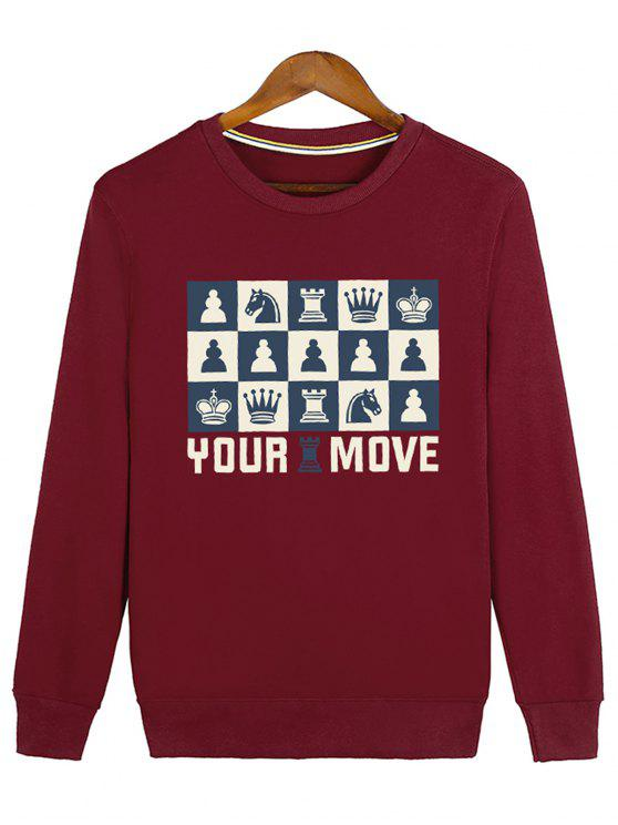 ladies Horse Crown Graphic Crew Neck Sweatshirt - RED L