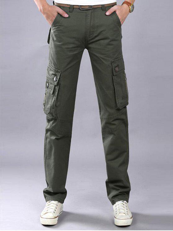 Zip Fly Flap bolsillos pantalones de carga casual - Verde del ejército 42