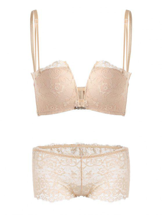 6243c67daf 2018 Lace Criss Cross Back Bra Set In COMPLEXION 85A