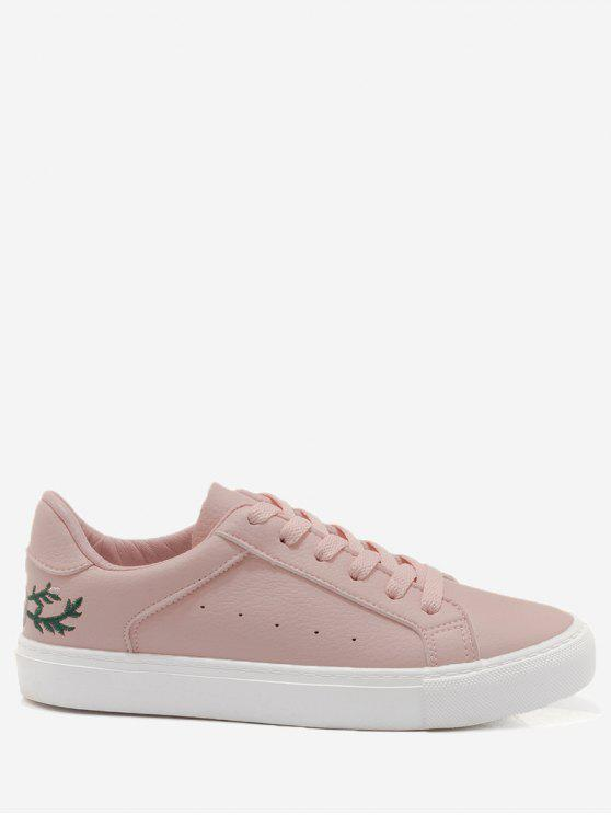 Faux Leather Bordado Flower Skate Shoes - Rosa 37