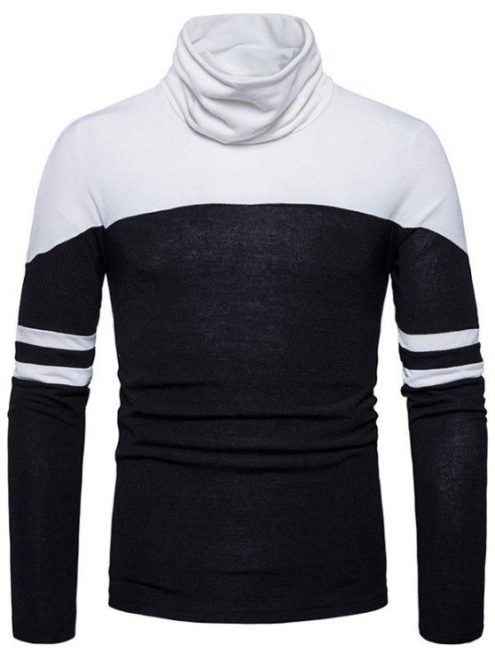 Cuello Cuello Cuello de Color Varsity Stripe Sweater - Negro M