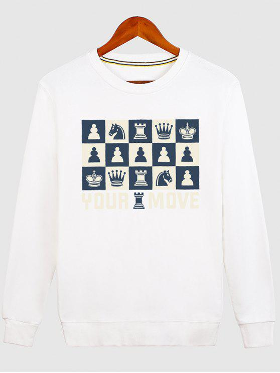 shop Horse Crown Graphic Crew Neck Sweatshirt - WHITE XL