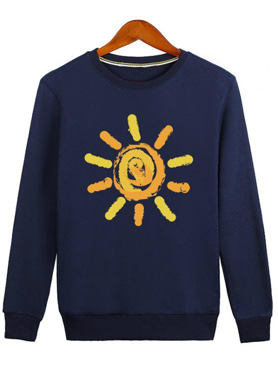 Sun Print Cartoon Crew Neck Sweatshirt - Blau XL