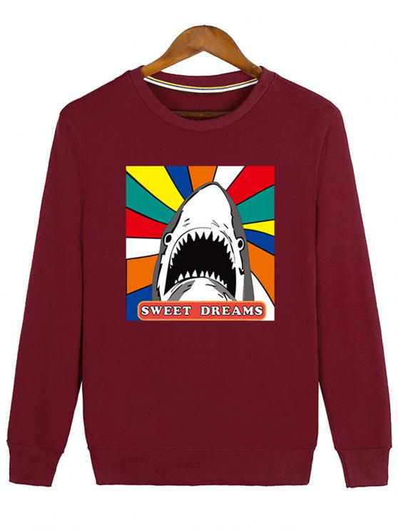 shop Letter Graphic Cartoon Sweatshirt - RED L