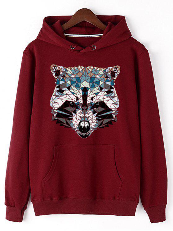 الكنغر الجيب الحيوان رئيس الطباعة هوديي - أحمر XL
