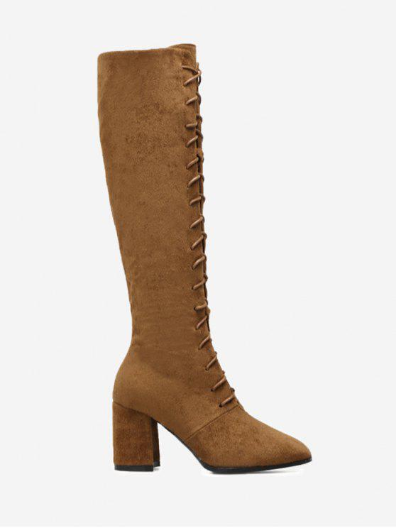 shops Chunky Heel Lace Up Knee High Boots - BROWN 38