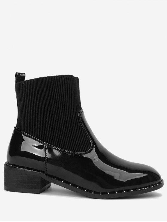 low heel rivets splicing ankle boots black boots 37 zaful. Black Bedroom Furniture Sets. Home Design Ideas