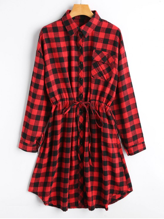 fancy Belted Long Sleeve Checked Shirt Dress - CHECKED ONE SIZE