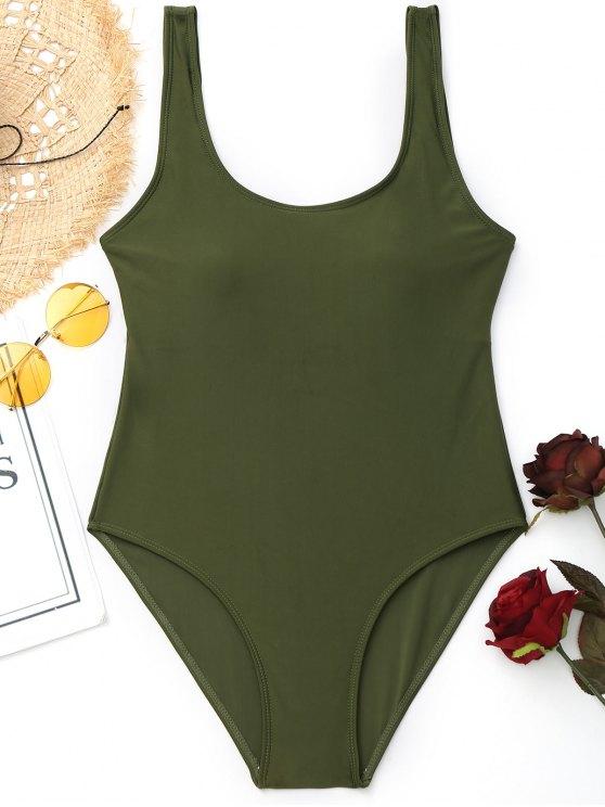 new Padded Low Back High Cut Swimwear - ARMY GREEN M