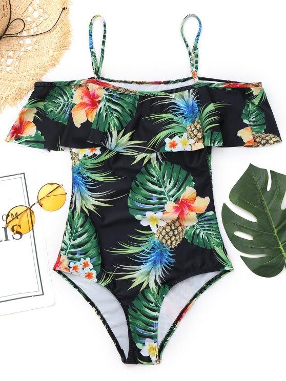 outfit Cami Pineapple Leaf Print Swimwear - BLACK L