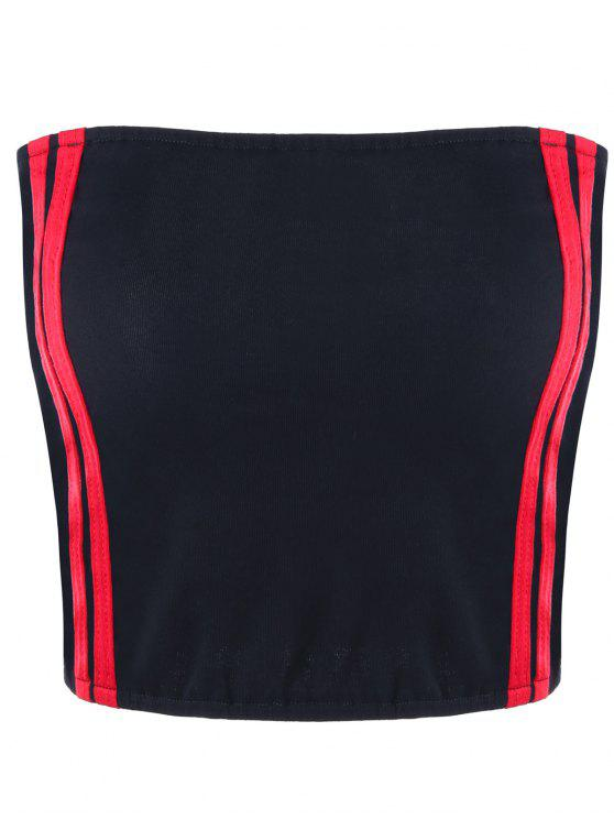 fashion Cropped Striped Tube Top - RED S