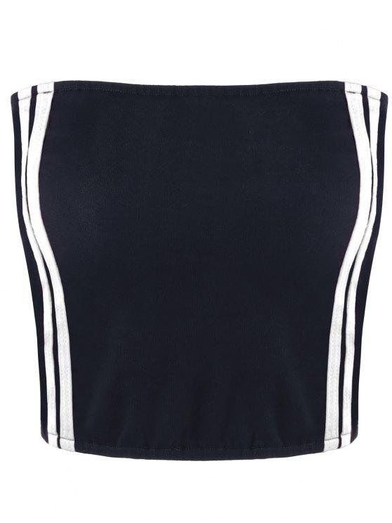 ladies Cropped Striped Tube Top - WHITE S