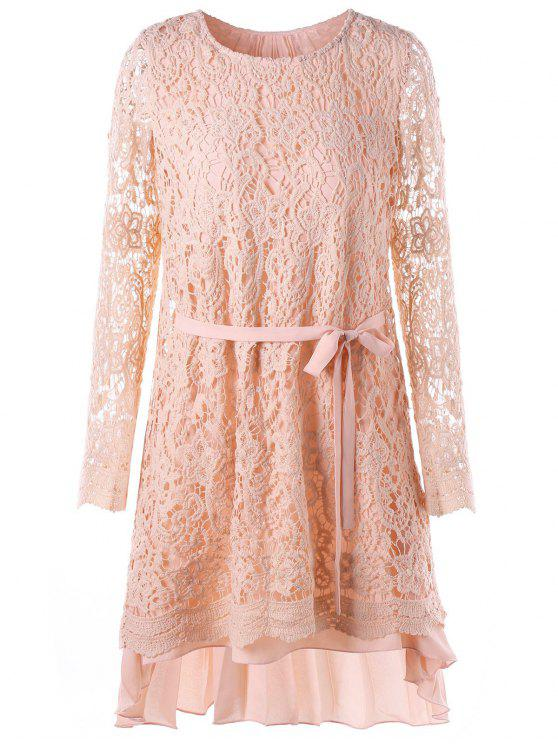 fancy Long Sleeve High Low Mini Lace Pleated Dress - PINK M