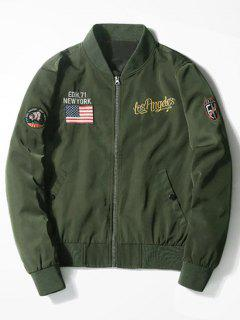 Tiger Graphic Patch Bomber Jacket - Army Green L