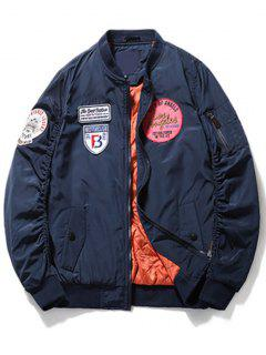 Scrunch Sleeve Patch Bomber Jacket - Deep Blue Xl