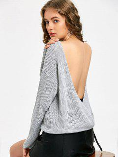 Boat Neck Backless Pullover - Grau