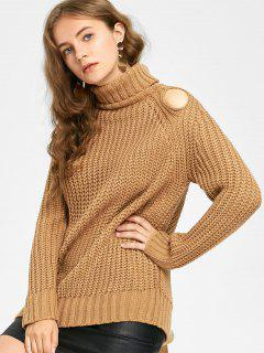 Turtleneck Chunky Cut Out Sweater - Light Coffee