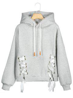 Lace Up Drawstring Hoodie - Gray S