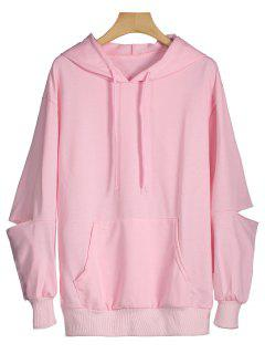 Cut Out Sleeve Drawstring Hoodie - Pink S