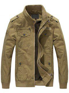 Patch Embroidered Jacket For Men - Khaki M