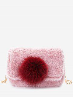 Chain Pompom Crossbody Bag - Pink