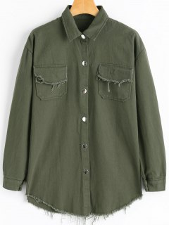 Frayed Hem Denim Jacket With Pockets - Army Green
