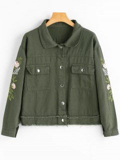 Frayed Hem Flower Patched Denim Jacket - Army Green