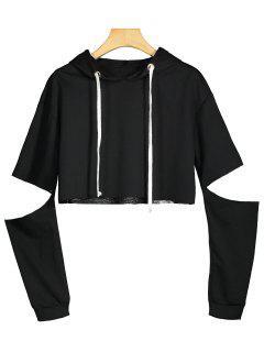 Cut Out Sleeve Drawstring Crop Hoodie - Black L