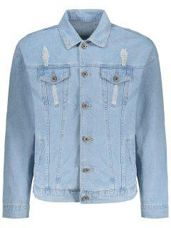 Faded Wash Ripped Denim Jacket - Light Blue L