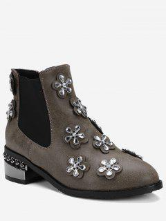 Rhinestone Elastic Band Ankle Boots - Brown 39