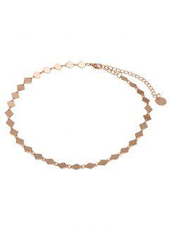Round Chain Geometric Design Choker Necklace - Golden