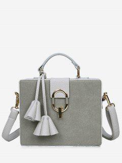 Pendant Box Shape Metal Detailed Handbag - Gray