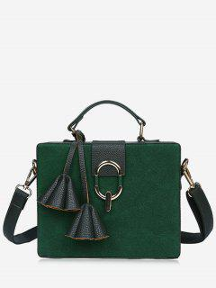 Pendant Box Shape Metal Detailed Handbag - Green