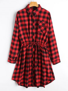 Belted Long Sleeve Checked Shirt Dress - Checked