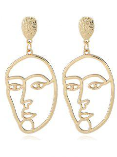 Alloy Funny Face Mask Earrings - Golden