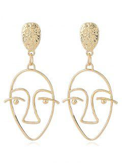 Hollow Design Face Geometric Stud Earrings - Golden