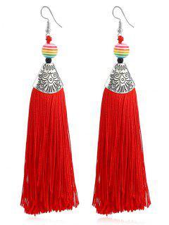 Beaded Tassel Design Bohemia Drop Earrings - Red