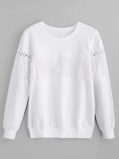 Crew Neck Fringe Sweatshirt - White M