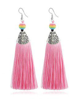 Beaded Tassel Design Bohemia Drop Earrings - Pink