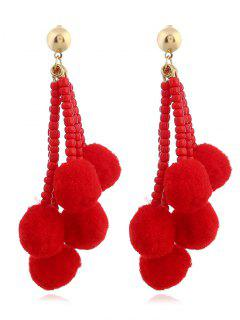 Beaded Chain  Fuzzy Ball Tassel Drop Earrings - Red