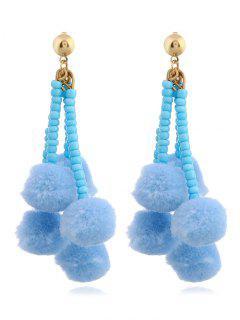 Beaded Chain  Fuzzy Ball Tassel Drop Earrings - Blue