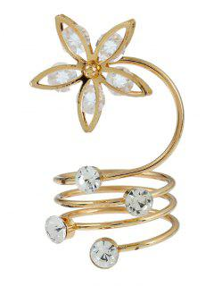 Rhinestone Flower Circle Full Finger Ring - Golden