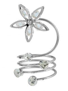 Rhinestone Flower Circle Full Finger Ring - Silver