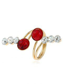 Faux Gem Rhinestone Full Finger Ring - Golden