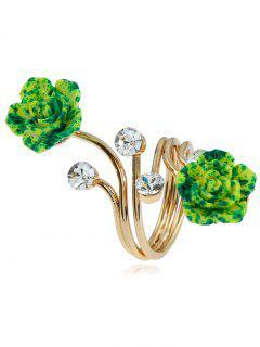 Alloy Rhinestone Flower Full Finger Ring - Golden