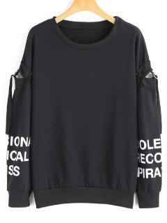 Cutout Sleeve Oversized Letter Sweatshirt - Black M