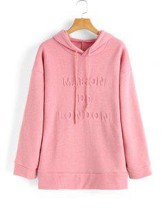 Drawstring Oversized 3D Letter Hoodie - Pink S
